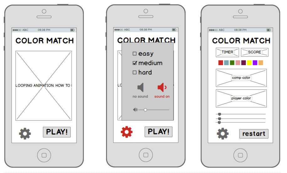 color match balsamiq wireframes